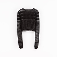 SHORT SWEATER WITH TRANSPARENT STRIPES