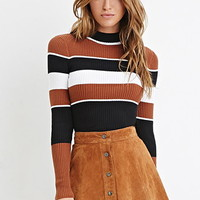 Mock Neck Striped Sweater