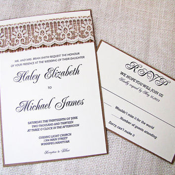 Shabby Chic Rustic Burlap Lace Wedding Invitation SampleListing