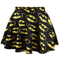 YFY Vintage Rockability Womens Fashion Batman  Skater Digital Print Bottom Skirt (Size M Color Multicolor) = 1927890436