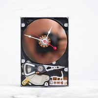 Desk clock from a recycled Computer hard drive - HDD clock - ready to ship - c0716