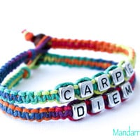 Rainbow Carpe Diem Bracelets, Set of Two, Seize the Day, Quote of the Day Jewelry, Gift for Her