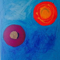 """Acrylic Painting Original """"Sickness"""" - Handmade, Mixed Media, Hot Glue, Canvas, Blue, Orange, Red, Abstract, Obscure, Shapes, Large, OOAK"""