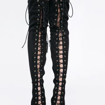 Lace It Up Thigh-High Boots - Black
