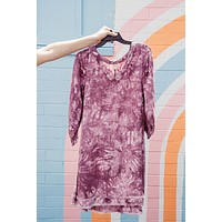 Clara Fray Hem Dress, Plum Tie Dye | Plus Size