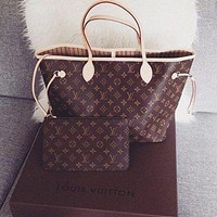 LV Louis Vuitton Fashion Ladies Print Two Piece Handbag Shoulder Bag And Same Style Wallet A Set I