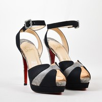 KUYOU Black Christian Louboutin Lizard  Double Moc 140  Sandals