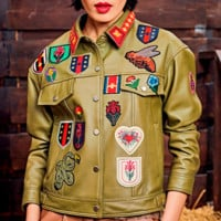 Joi Embroidered Green Leather Jacket