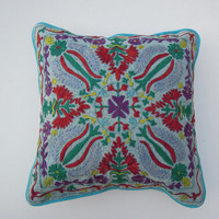 "Suzani Cushion Cover, Embroidered 16x16'' Size Pillow Case Decorative, ""Handmade"" Floral Suzani Cushion, Indian Cushion, Boho Cushions"