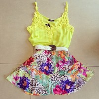 809070 Cute Sexy Yellow Lace Flower Print dress Party Dress | Candy Blue Shop