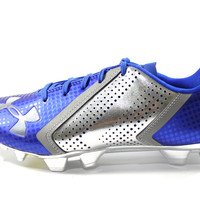 Under Armour Men's Blur Low MC Blue/Chrome Football Cleats