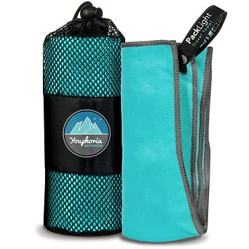 Youphoria Outdoors Microfiber Travel Towel - Ideal Fast Drying Towels for Camping, Travel, Beach, Backpacking, Gym, Sports, and Swimming - Lightweight, Quick Dry and Absorbent - 3 Size Options Mint/Gray 20x40-Inch