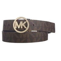DCCKIN4 NEW MICHEAL KORS SIGNATURE MK LOGO Chocolate Women Size Large 100% Authentic