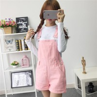 denim overalls women summer lovely jumpsuits 2018 spring denim jeans overalls shorts pink/white/black overall jumpsuit