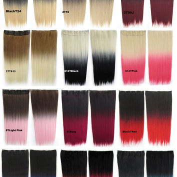 "12 Colors Dip dye hairpieces New Fashion 24"" Women Clip in on gradient wig Bath & Beauty Hair Ombre Hair Extensions Two Tone Straight hair Gradient Hair Extension Colorful Hairpieces GS-666,1PCS"