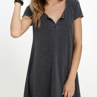 The Tempo Washed Black Swing Dress