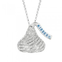 Sterling Silver and Diamond Flat Back Shaped Hershey's Kiss Pendant