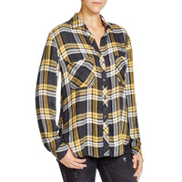 Bella Dahl Womens Tencel Plaid Button-Down Top