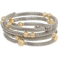 Heirloom Finds Silver Toned Mesh Bracelet with Gold Star Dust Beads and Crystal Rondelles will Fit All: Jewelry: Amazon.com