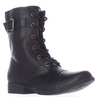 AR35 Faylln Lace Up Combat Boots - Black