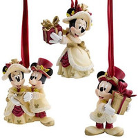 disney christmas ornament set victorian minnie and mickey mouse new with box