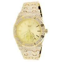 Techno Pave Gold Tone Presidential Look 41MM Watch