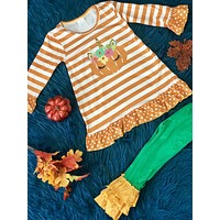 Fall Halloween Unicorn Pumpkin Pant Set H