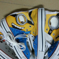 minion Converse hand-painted high-top Sneakers Despicable Me Converse Shoes