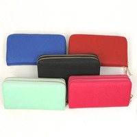 Solid Double Zip Wallet Clutch - Black, Cobalt Blue, Tomato Red, Mint or Fuchsia