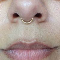 Gold Septum Ring 18 Gauge Fake No Piercing Needed Wire Nose Ring