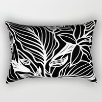 Black White Floral Rectangular Pillow by Beautiful Homes | Society6