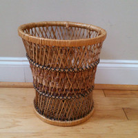 Vintage Woven Basket Style Rattan Trash Can Planter