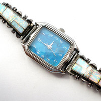 Charlie Bowie Watch, Native American, Sterling Silver Tips, Inlay Opals, Navajo Jewelry, Opal Gemstones, Vintage Watches
