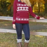 Sleigh Ride With You Sweater-Cranberry