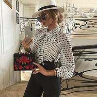 Elegant Women Polka Dot Blouses Formal Office Lady Bow Tie Long Sleeve Shirts Fashion Puff Sleeve Chiffon Blouses Tops