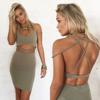 Bodycon Slim Bandage Two Piece Crop Tops and dress Set