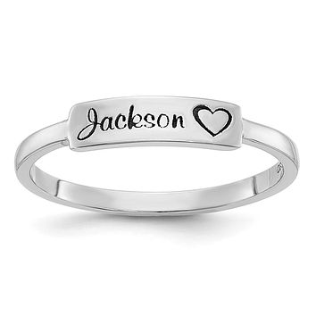 14K White Gold Personalized Name Bar Ring
