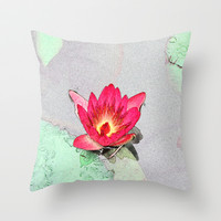 art style pretty pink waterlily flower  Throw Pillow by NatureMatters