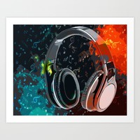 Headphones Art Print by Gift Of Signs