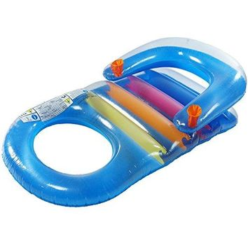 By PoolCentral 59 inch  Blue Classic Inflatable Swimming Pool Lounger with Dual Drink Holders