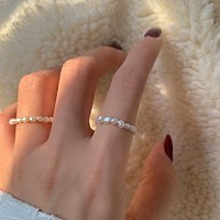 GHIDBK Dainty Baroque Freshwater Pearls Women Rings Handmade Irregular Natural Pearl Circle Ring Simple Classic Ring Ins Jewelry