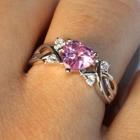 Pink Heart Shaped Promise Ring on Hand2 - Beautiful Promise Rings