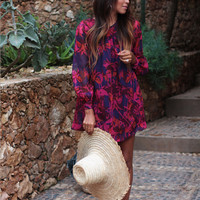 Floral Print Cuff Sleeve A-Line Mini Dress