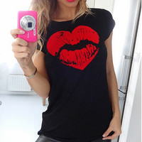 Love Lips Printed Cotton T-Shirt 10834