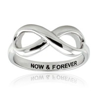 Sterling Silver Now & Forever Engraved Infinity Ring - Size 6