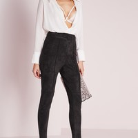 Missguided - Faux Suede High Waist Skinny Pants Black