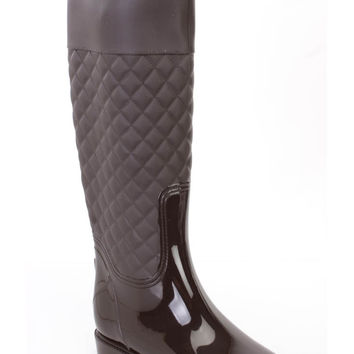 Brown Stitched Quilted Rain Boots Rubber