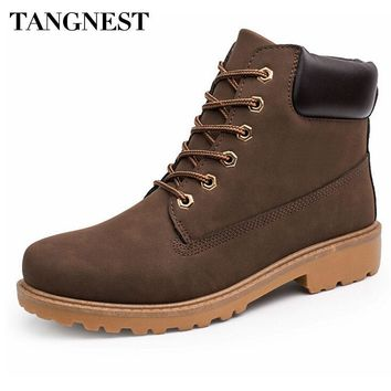 Tangnest Men Martin Boots New Ankle Boots British Style High Top Shoes