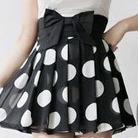 Oh My! Fashion — Pleated Polka Dot Skirt with High Waist Bow