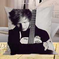Ed Sheeran With Guitar on square pillow cover 16inch 18inch 20inch
